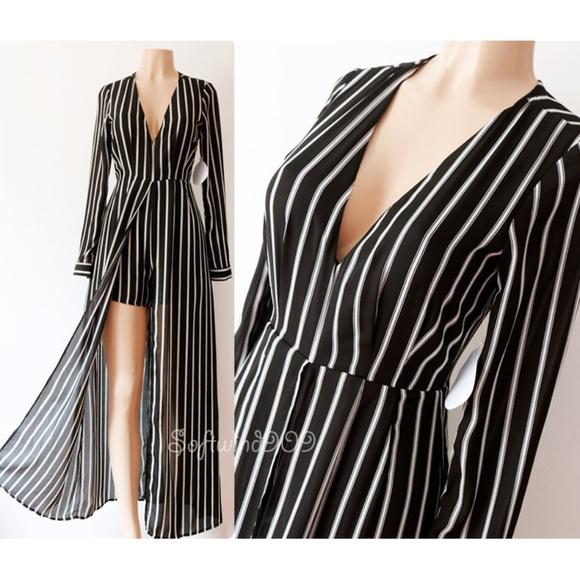 0d200a4b8c2 Black White Striped Maxi Romper Jumpsuit Dress